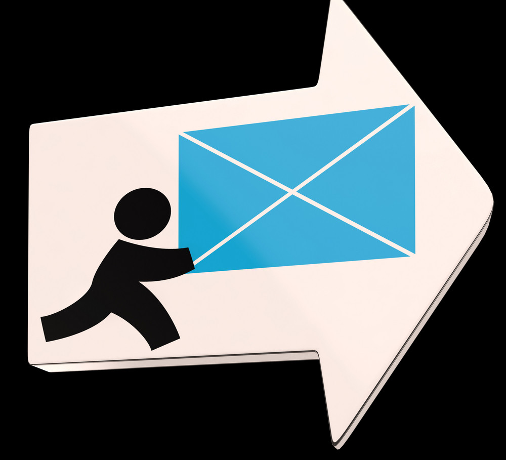 Delivering Mail Arrow Shows Express Delivery