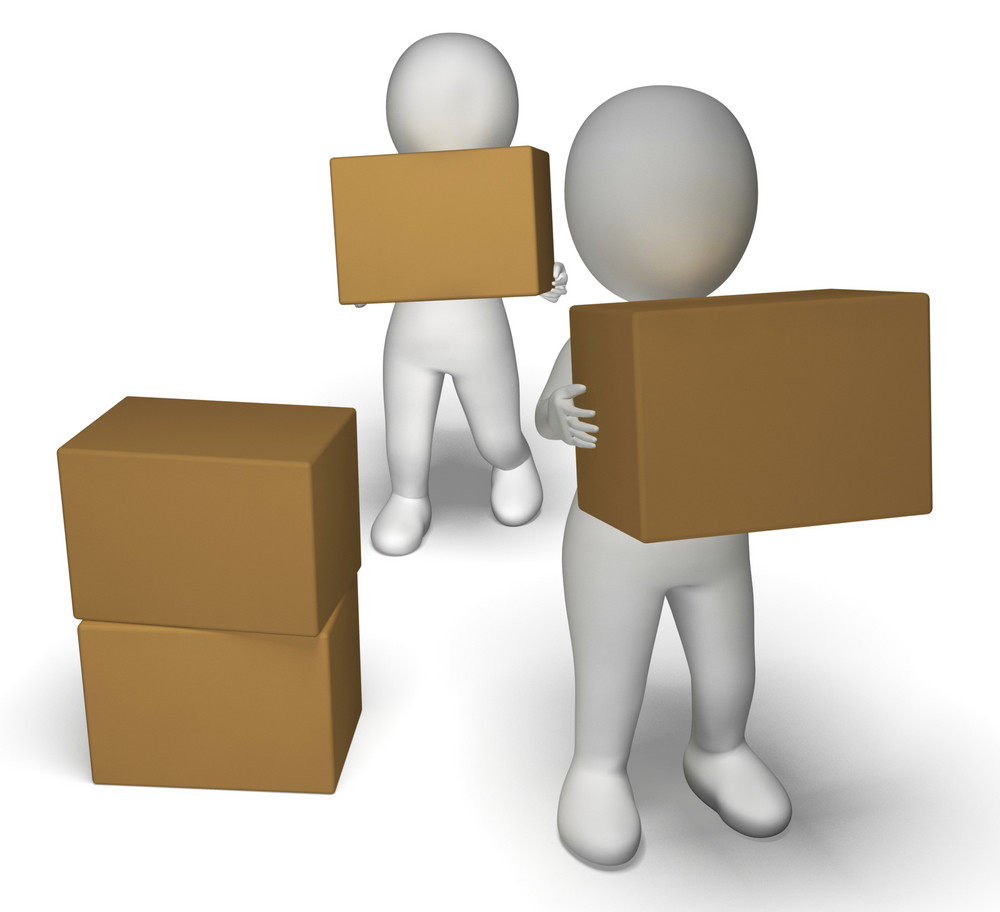 Delivery By 3d Characters Showing Moving Packages