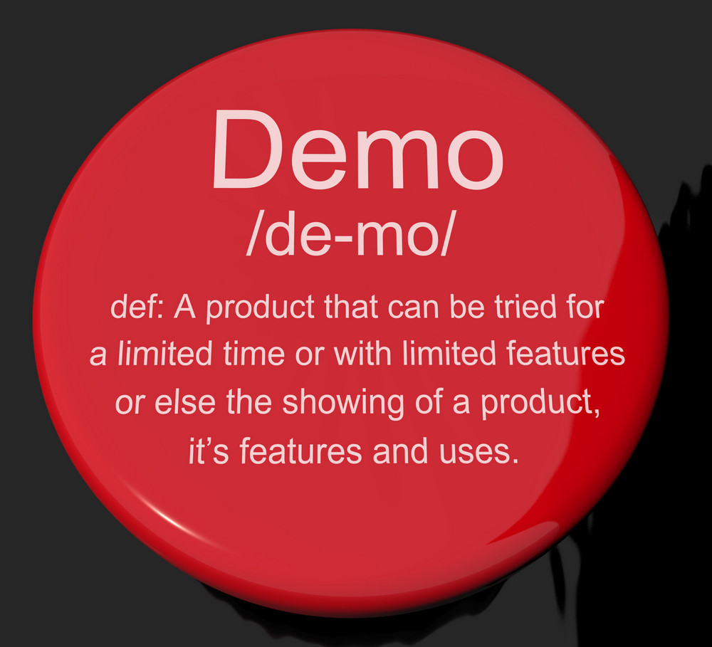 Demo Definition Button Showing Demonstration Of Software Application Or Product