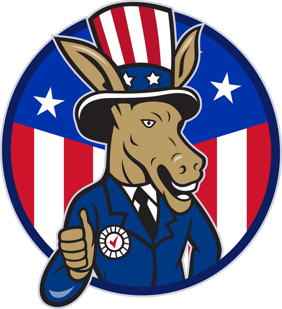 Democrat Donkey Mascot Thumbs Up Flag