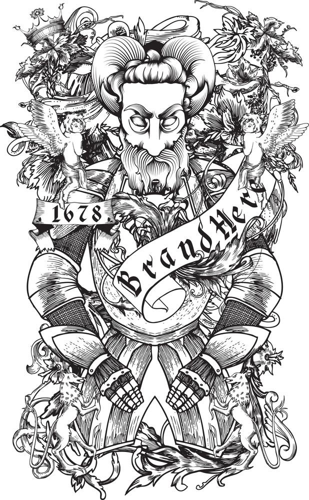 Demon With Scrolls Vector T-shirt Design
