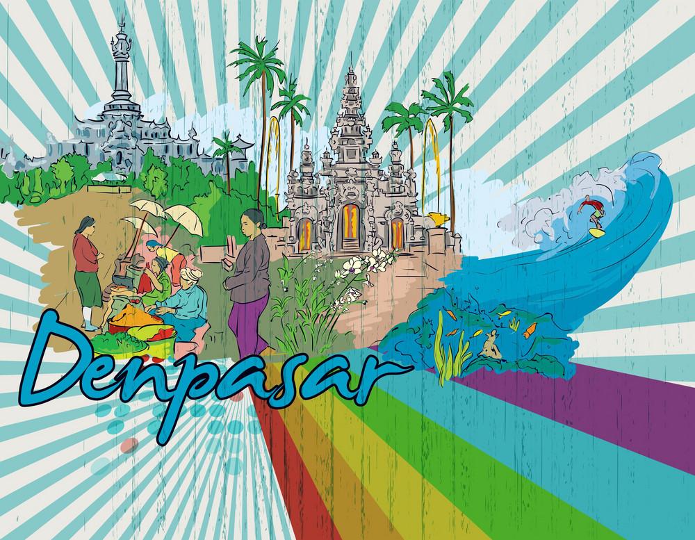 Denpasar Doodles Vector Illustration