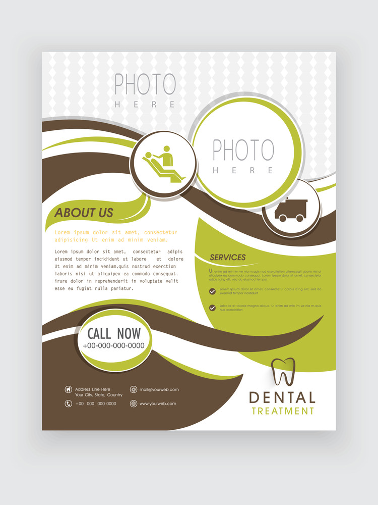Dental Treatment flyer presentation with place holders for image and your content.