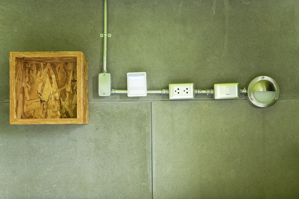 Design electric plug power and lamp on wall
