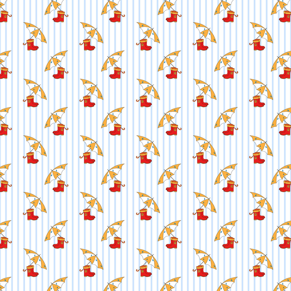 Design Pattern Of Umbrellas And Rainboots On An Autumn Background