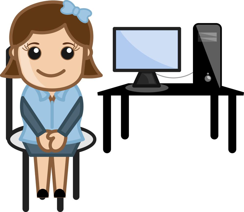 Desktop - Computer Teacher - Vector Illustration