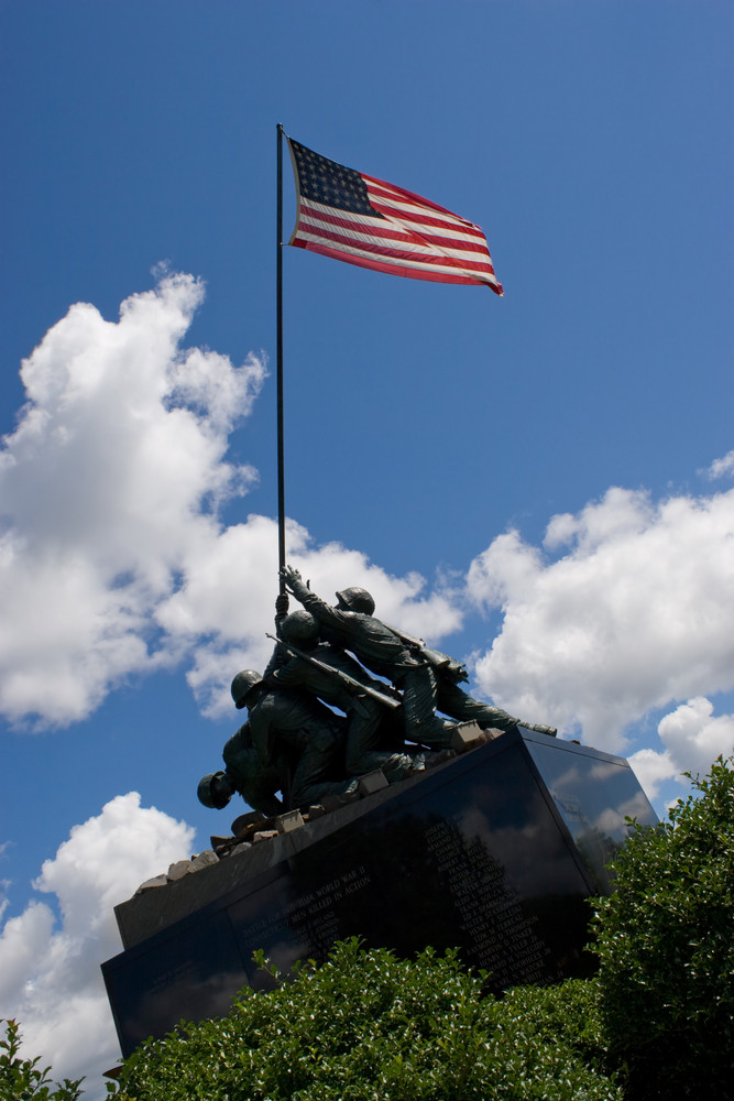 Detail of the Iwo Jima Memorial Statue located in New Britain Connecticut.