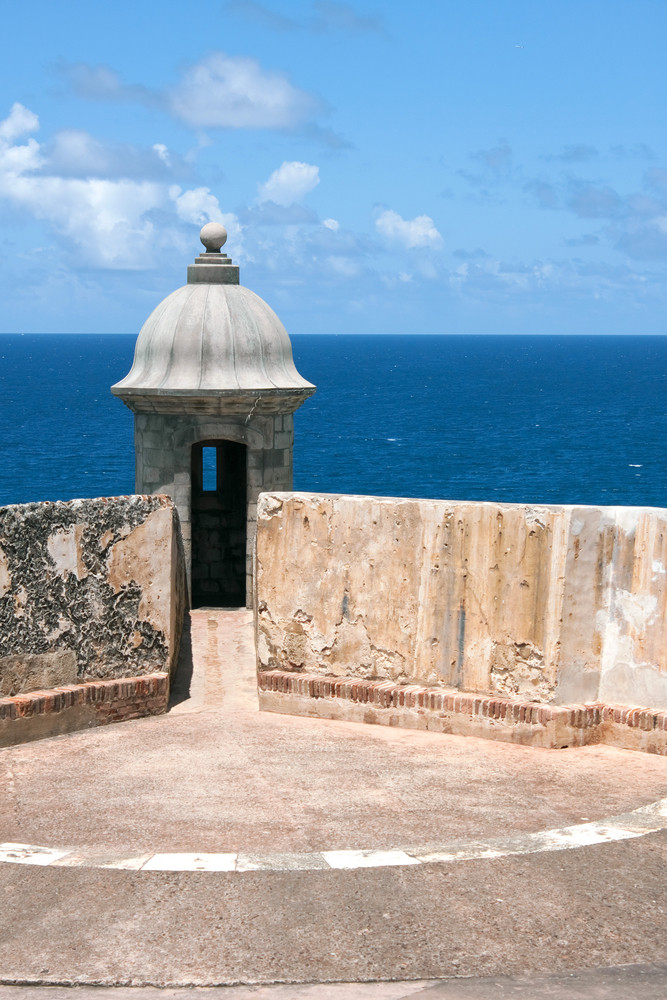 Detail view of an El Morro fort sentry tower and wall located in Old San Juan Puerto Rico.