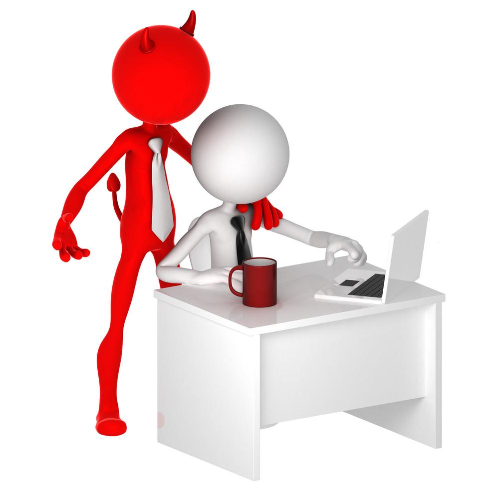 Devil Standing Behind Office Worker. Unfair Business Concept.
