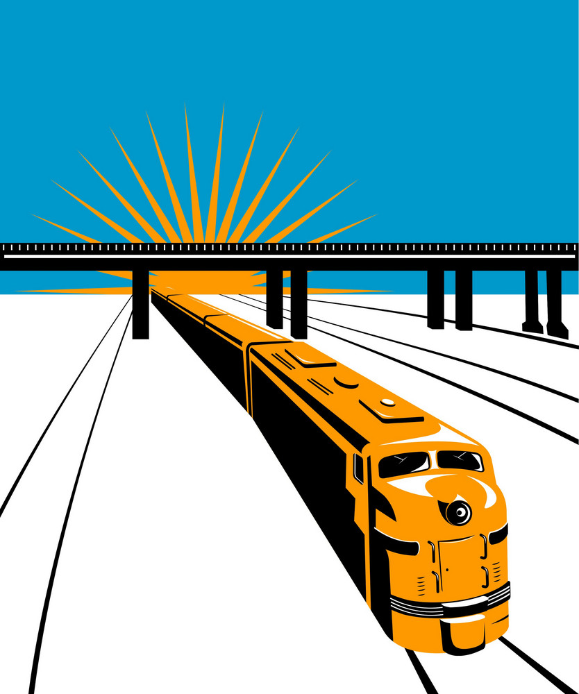 Diesel Train Locomotive Bridge