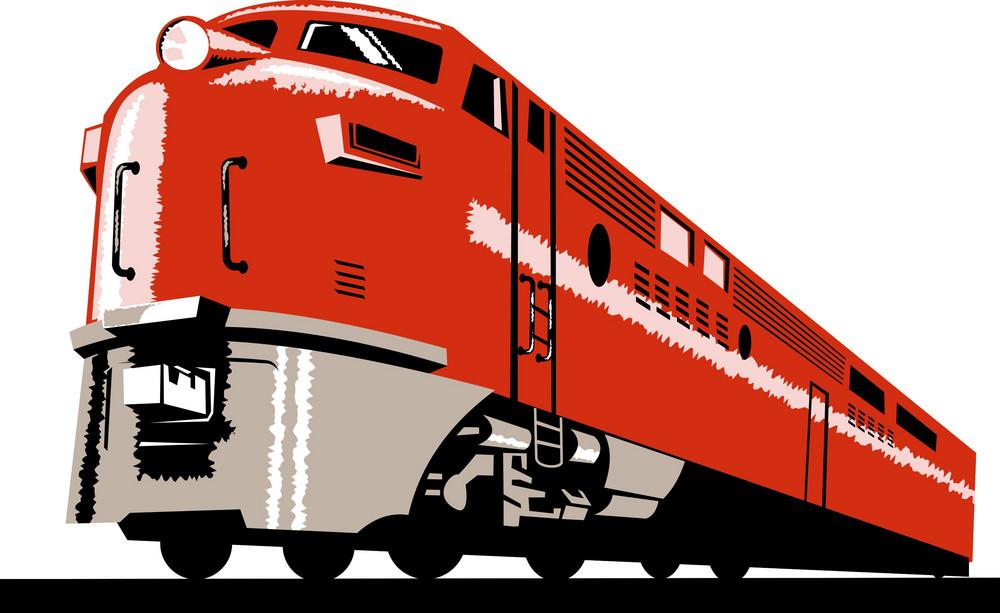 Diesel Train Locomotive Retro