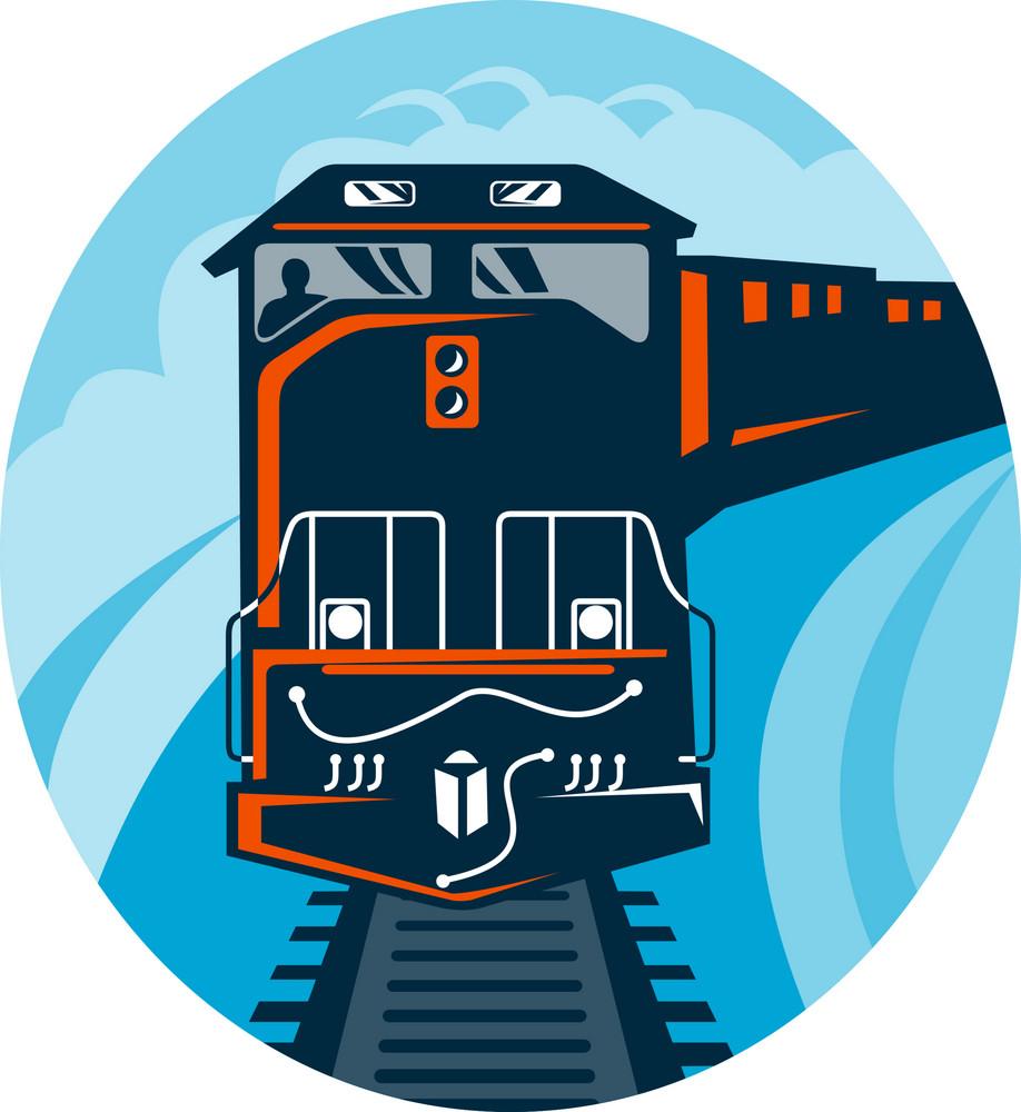 Diesel Train Traveling On Tracks