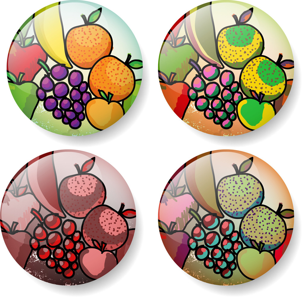 Different Fruit Sketch Round Vector Buttons.