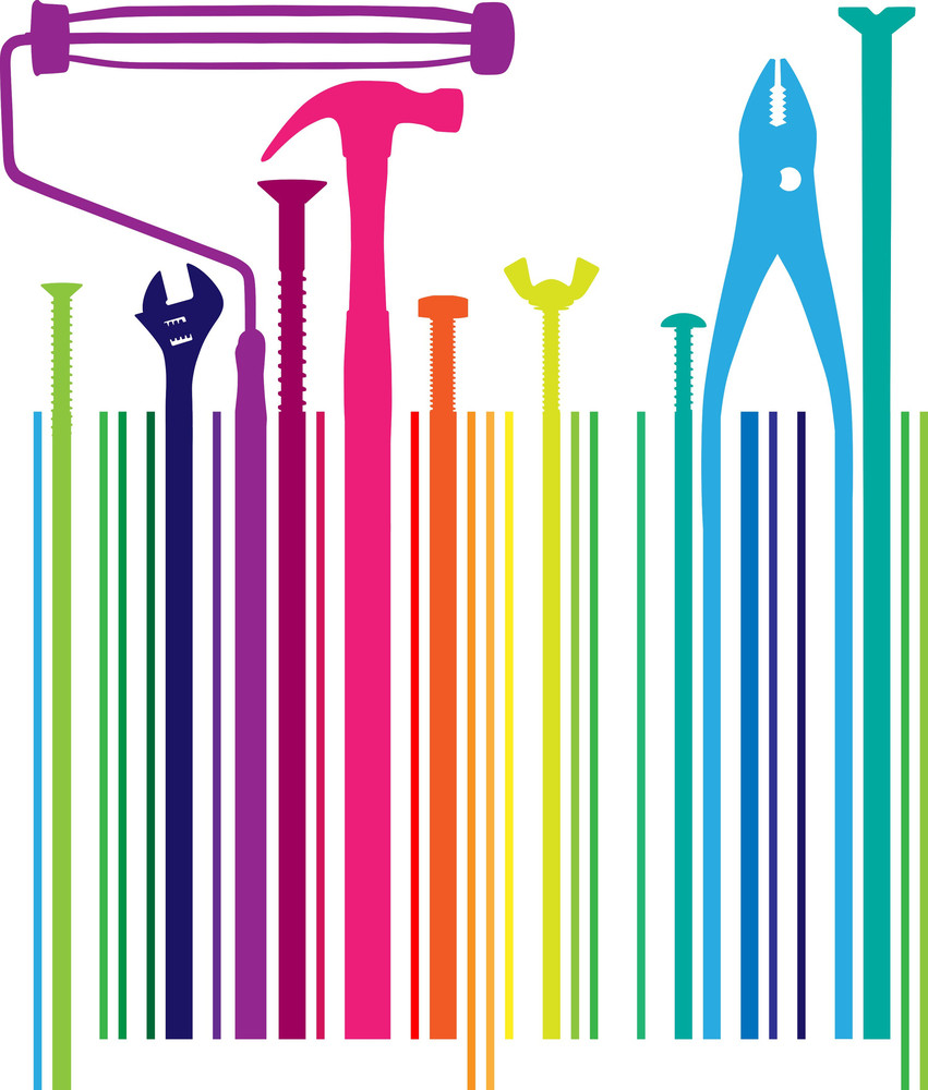 Different Tools On Bar Code. Vector Illustration
