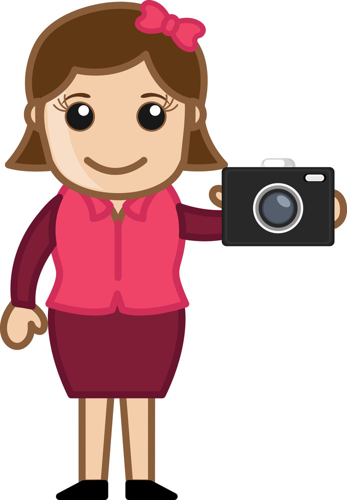 Digital Camera - Office Character - Vector Illustration