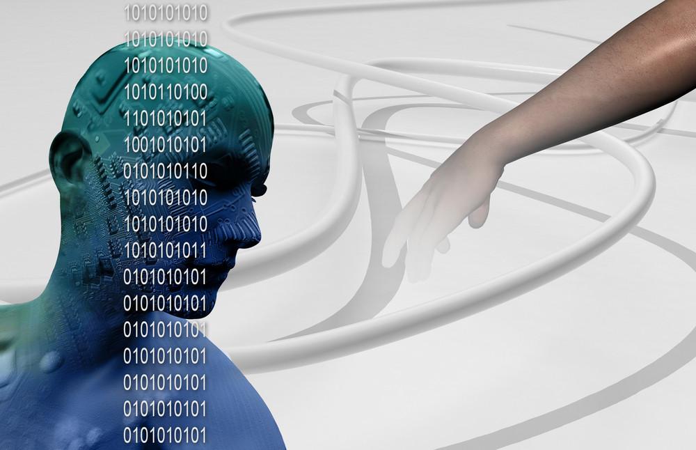 Digital Cyber Circuit Head 3d