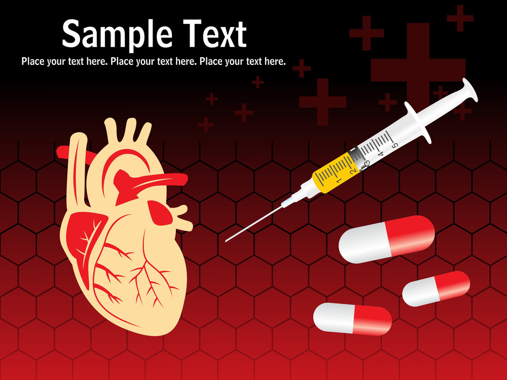 Digital Heart With Needle And Medicine