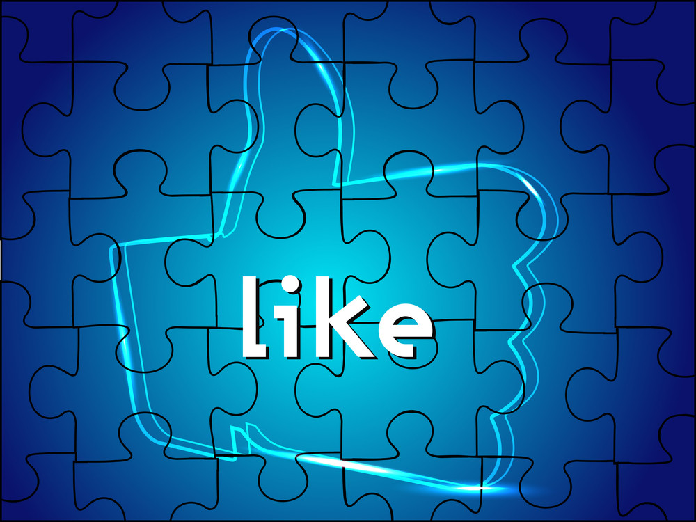 Digital Like Or Thumb Up Sign On Blue Puzzle Background Or Screen.