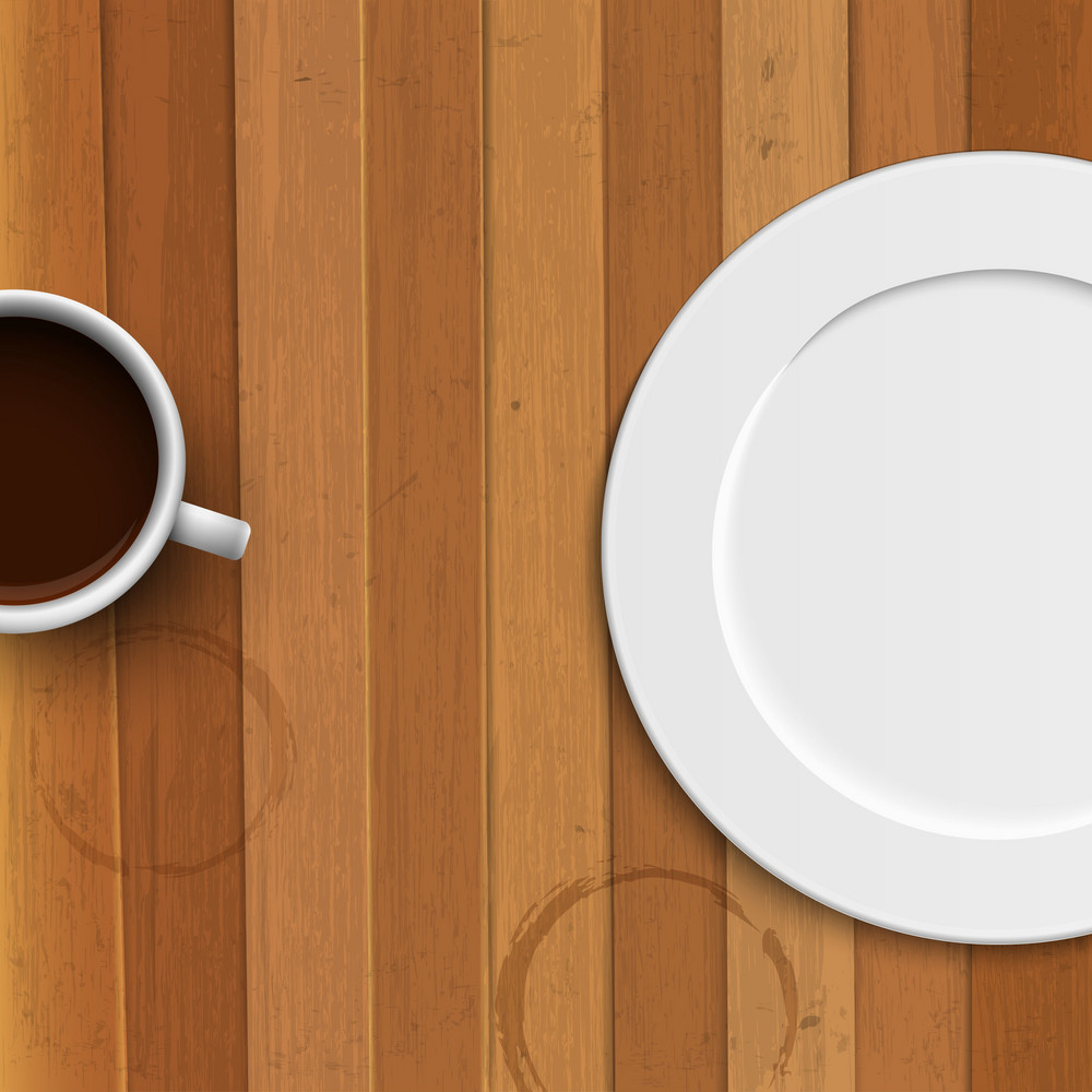 Dinner Plate And Coffee Cup On Wooden Background
