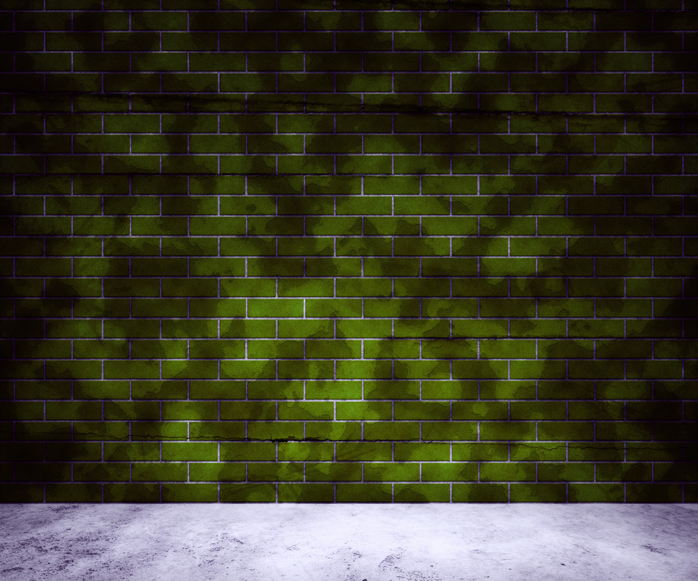 Dirt Green Brick Wall Background