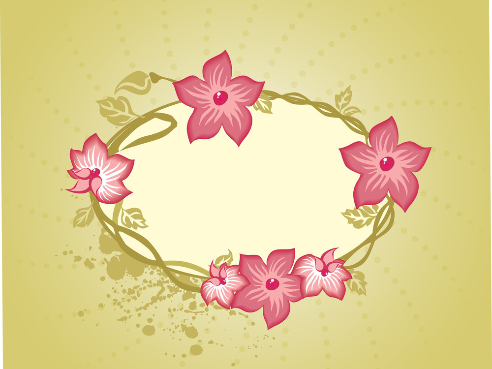 Dirty Background With Floral Frame