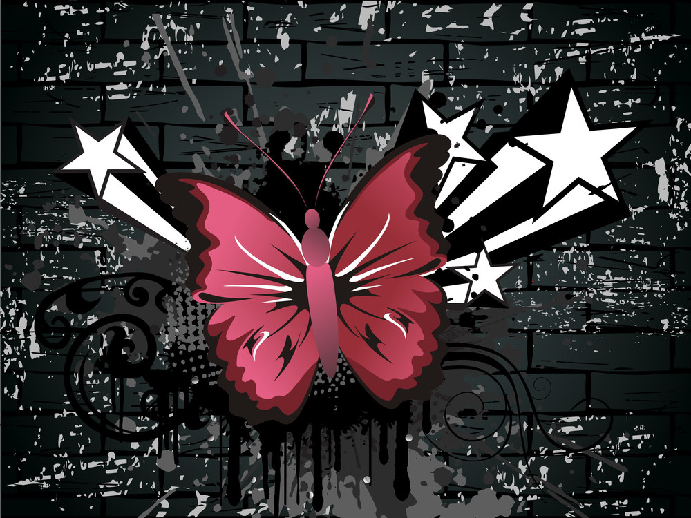 Dirty Grunge Background With Butterfly