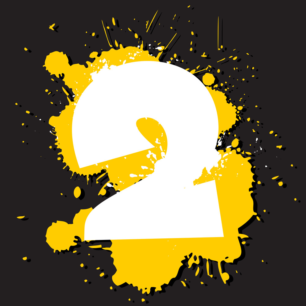 Dirty Number 2. Vector Illustration