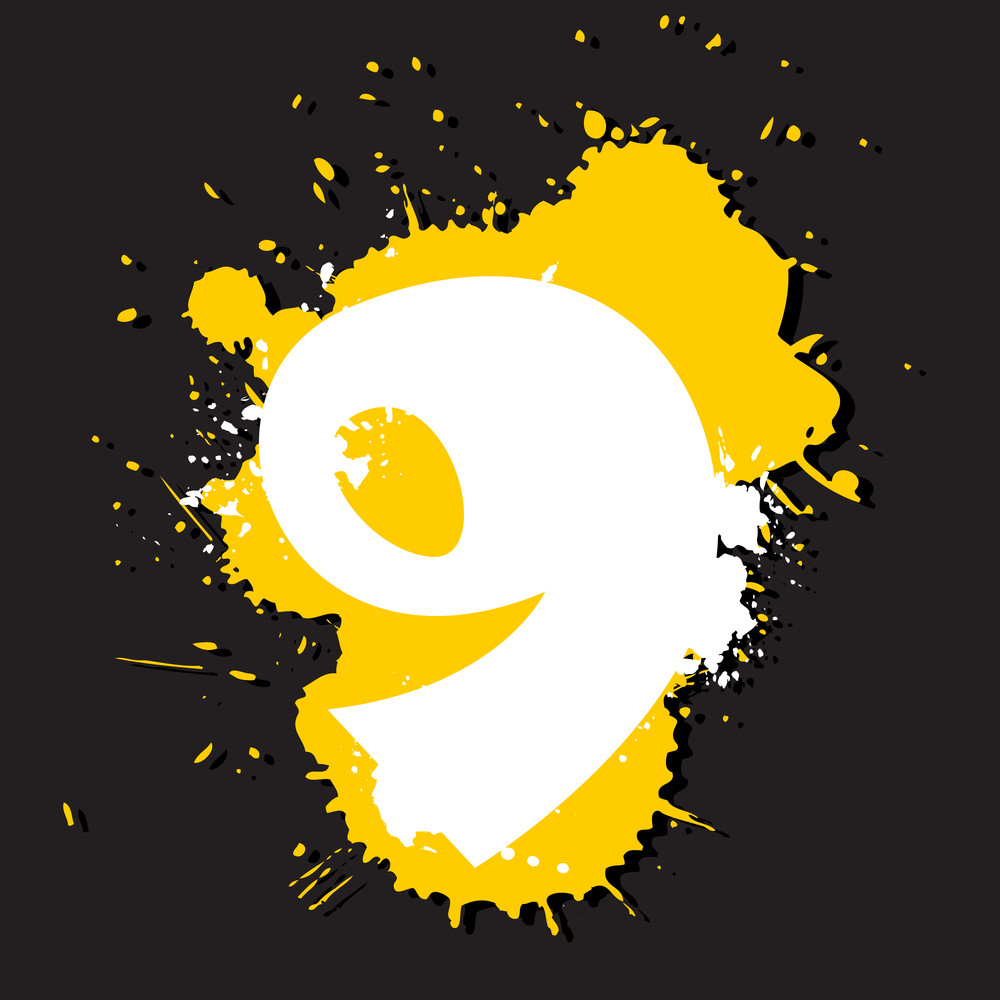 Dirty Number 9. Vector Illustration