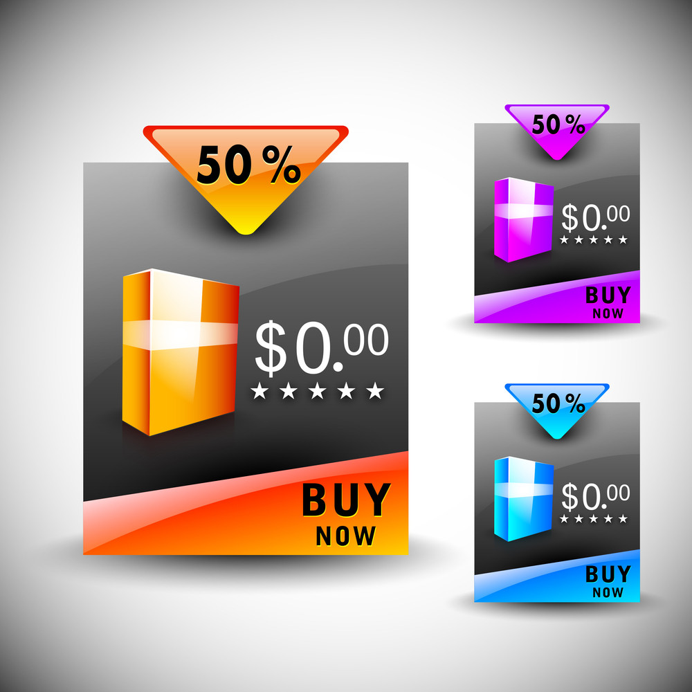 Discount Icon Set With Product Display And Ribbon