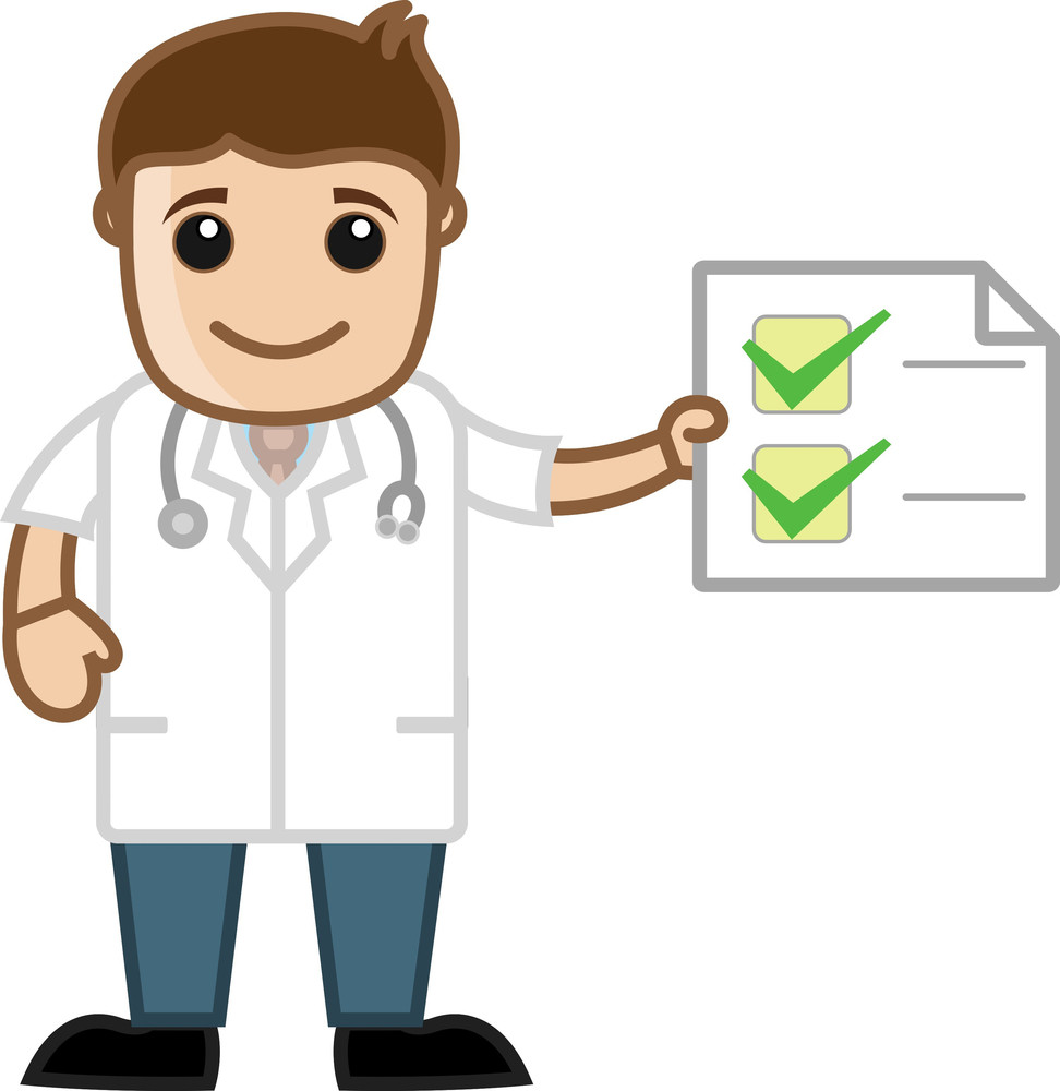 Doctor Checklist - Health Tips - Office Cartoon Characters