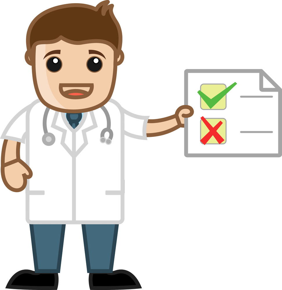 Doctor Checklist  - Medical Cartoon Characters