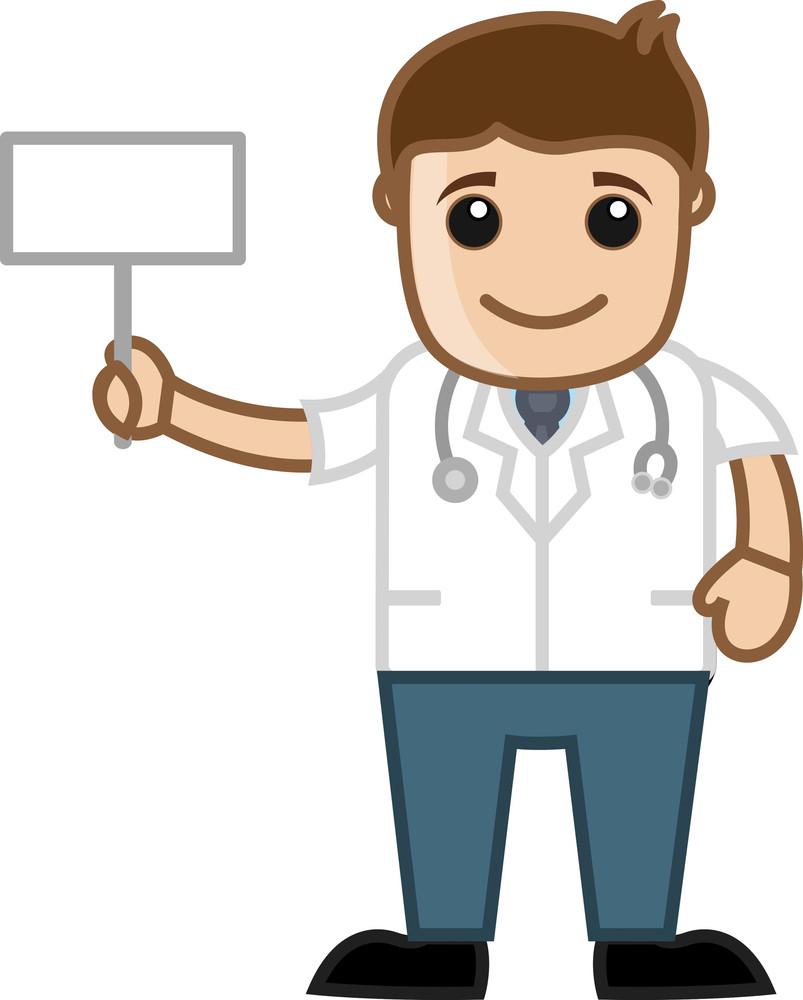 Doctor Holding Blank Billboard - Office Cartoon Characters
