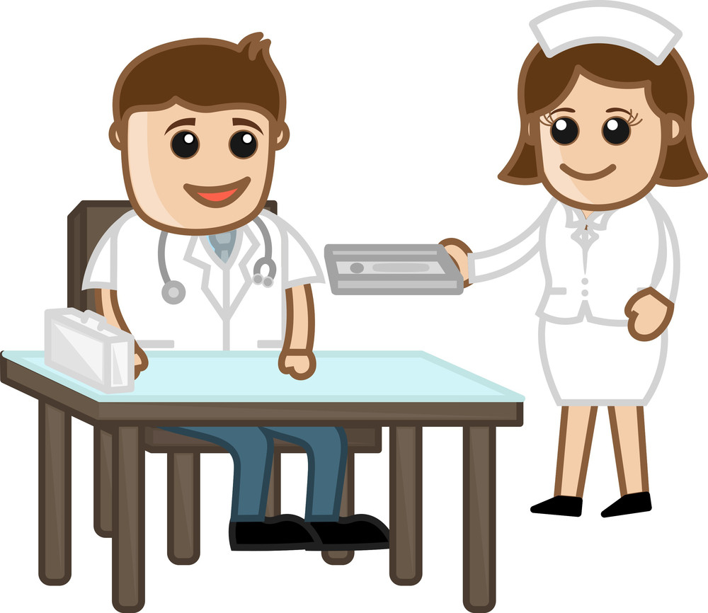 Doctor In Clinic With Nurse  - Medical Cartoon Characters