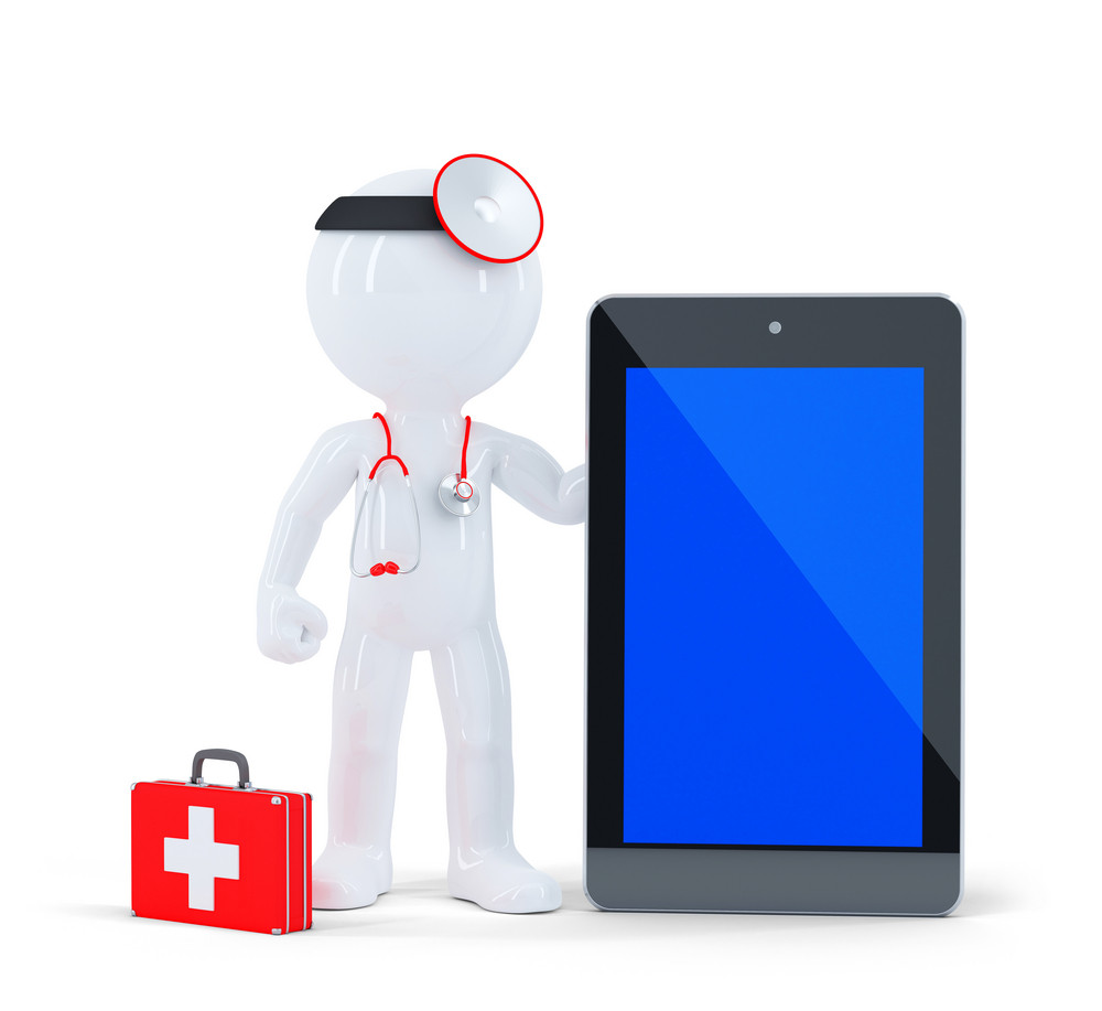 Doctor With Stethoscope Showing Blank Digital Tablet Pc.