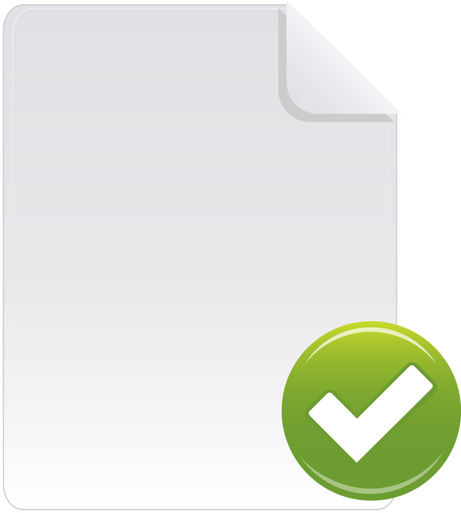 Document Icon With Green Check Sign On White Background