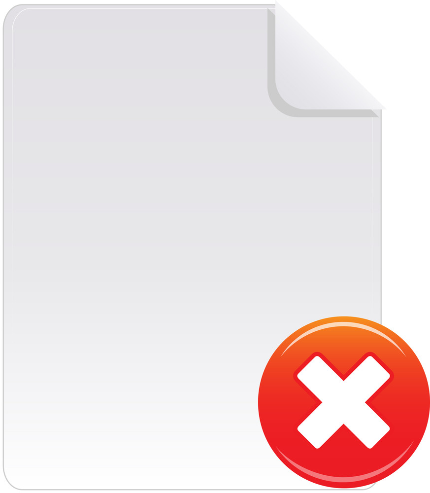 Document Icon With Red Cross Sign On White Background