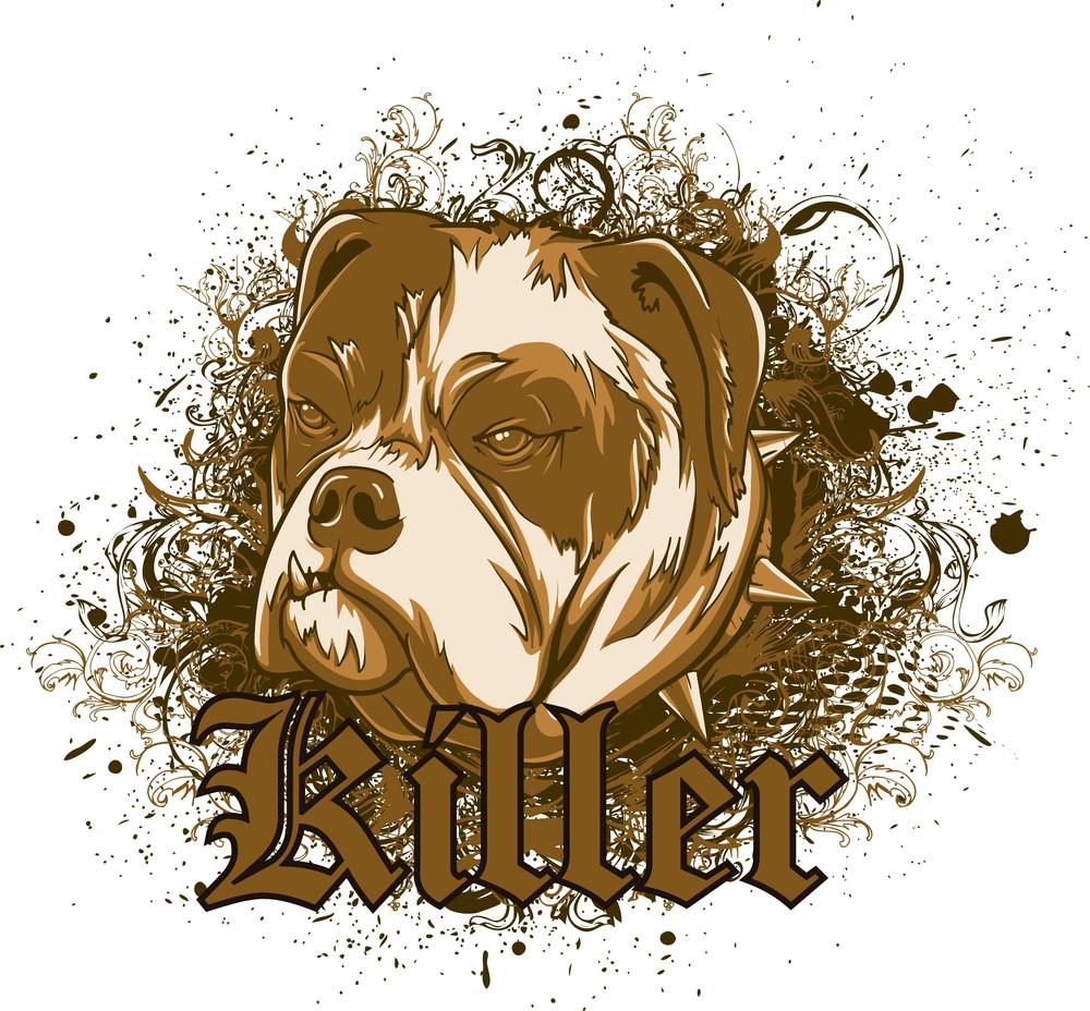 Dog With Grunge Vector T-shirt Design