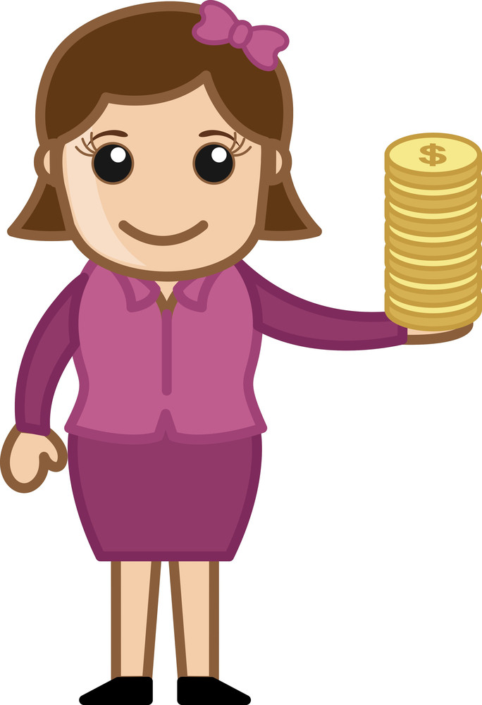Dollar Coins In Female Hand - Vector Illustration