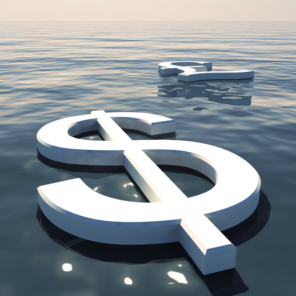 Dollar Floating And Pound Going Away Showing Money Exchange Or Forex