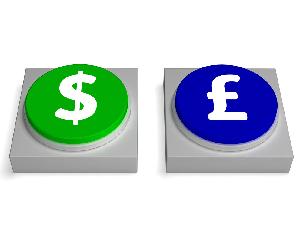 Dollar Or Pounds Signs Shows Forex And Foreign Exchange