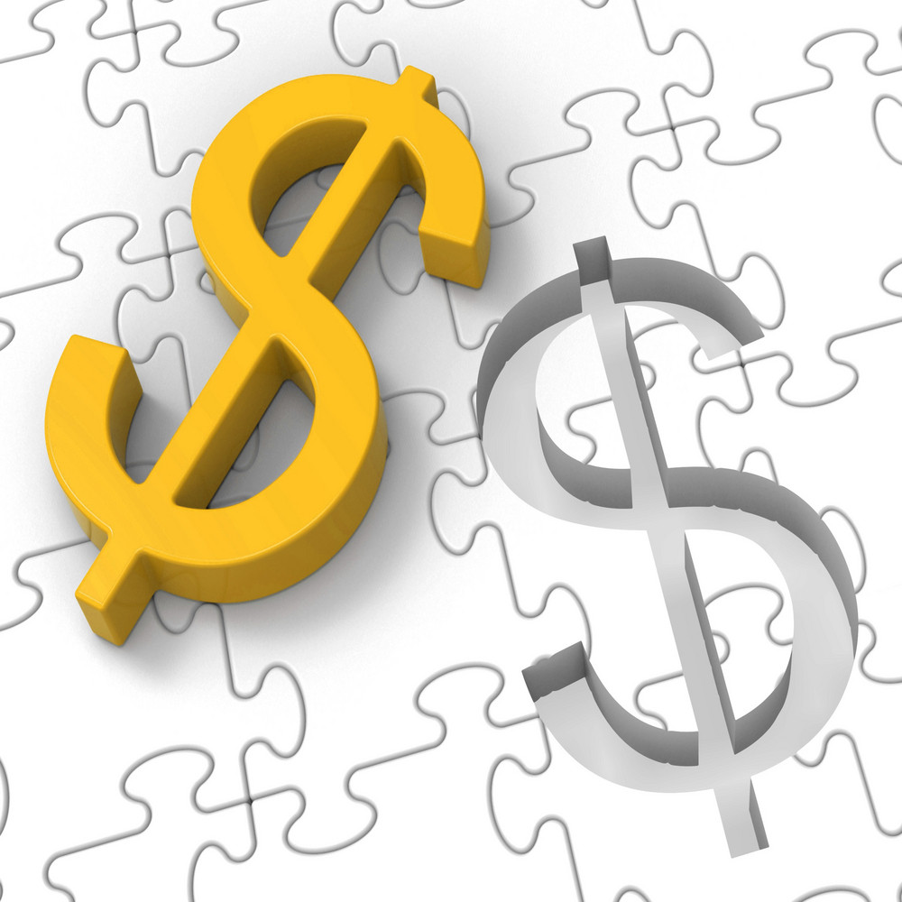 Dollar Puzzle Showing Revenues And Investments