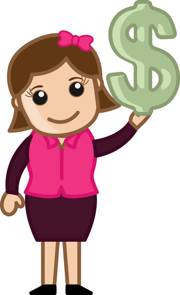 Dollar Sign - Cartoon Bussiness Vector Illustrations