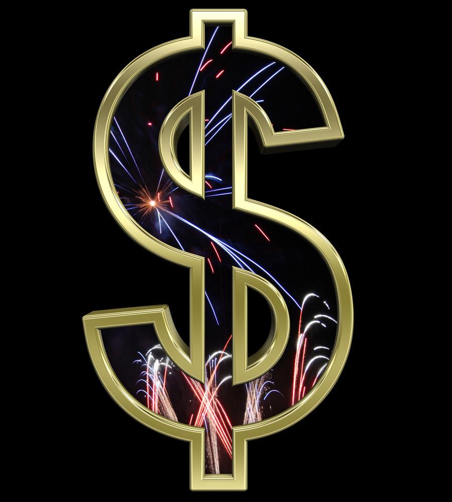 Dollar Sign From Firework With Gold Frame Alphabet Set