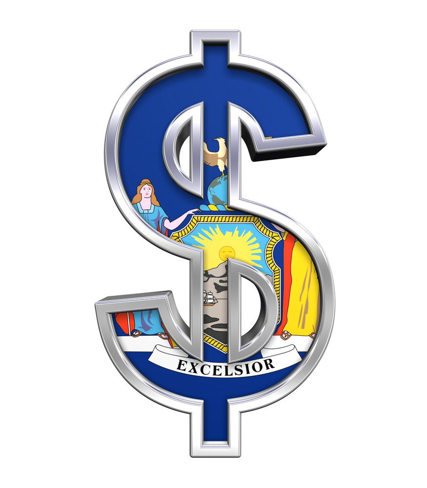 Dollar Sign With New York Flag Isolated On White.