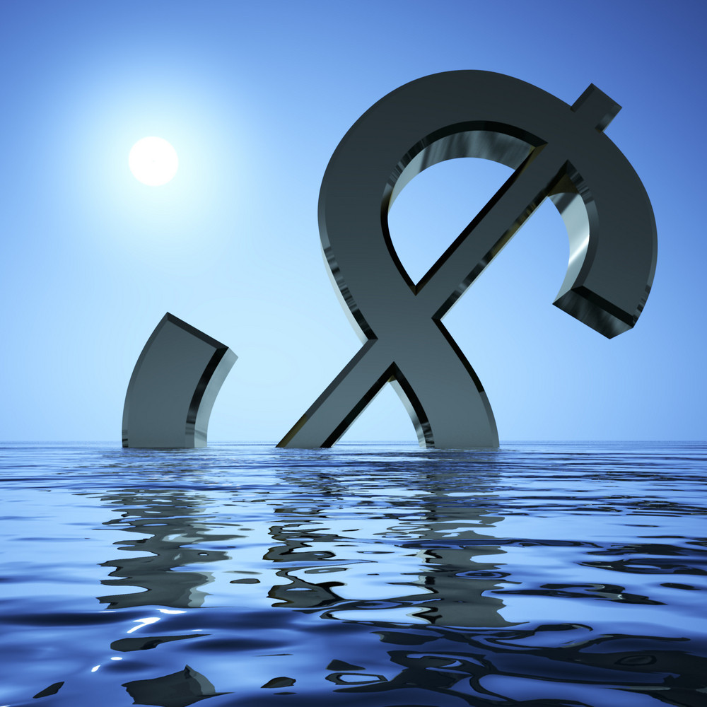 Dollar Sinking In The Sea Showing Depression Recession And Economic Downturn