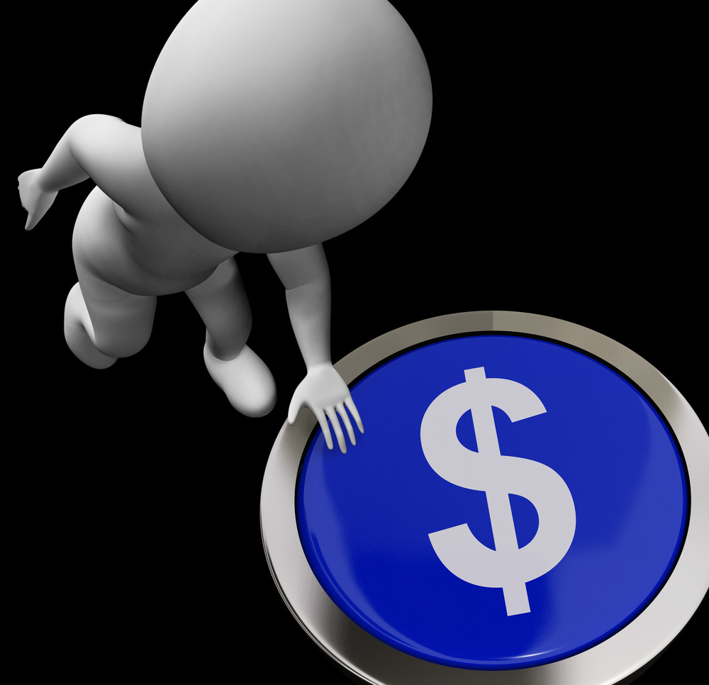 Dollar Symbol Button Shows Money Or Investments