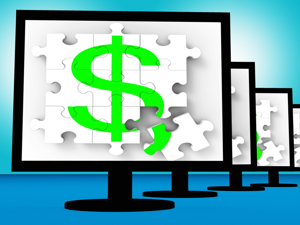 Dollar Symbol On Monitors Shows American Currency Royalty Free Stock