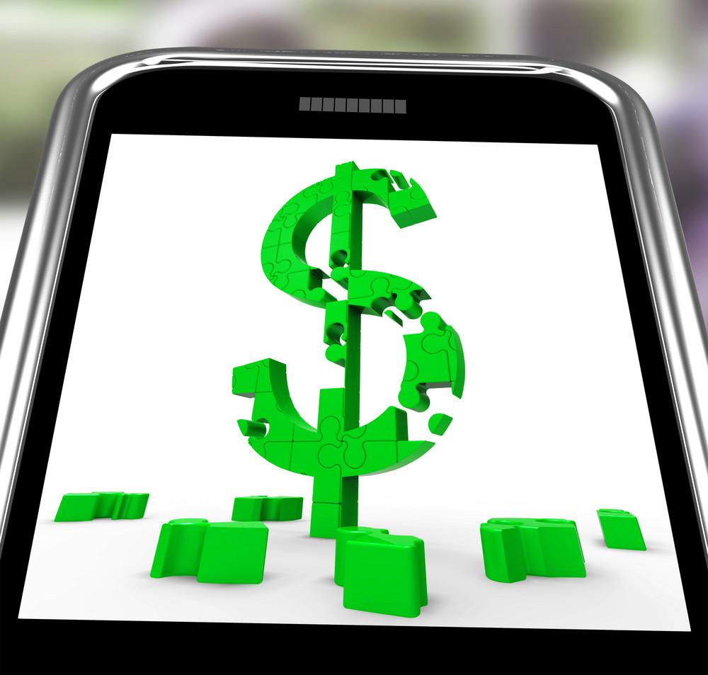 Dollar Symbol On Smartphone Showing American Bucks