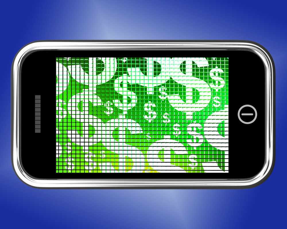 Dollars On Mobile Screen Showing Money Or Earnings