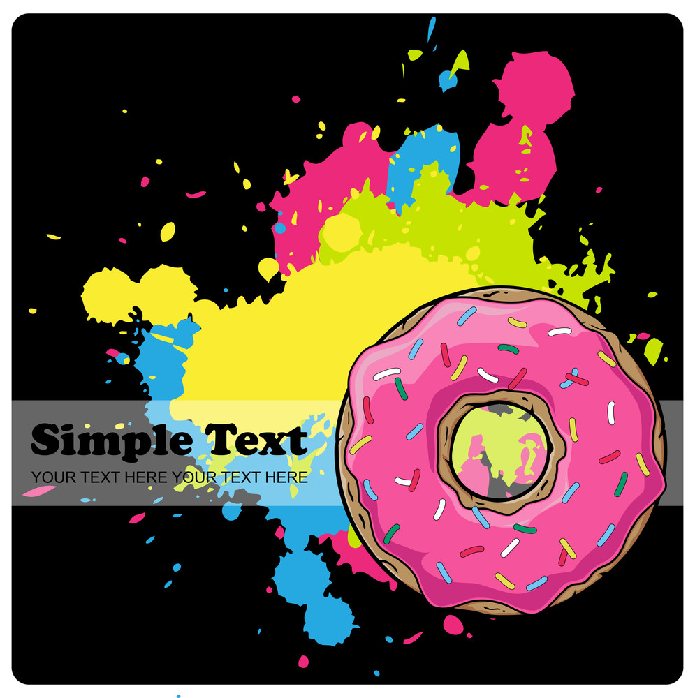 Donut On A Black Background With Blots. Vector Illustration.